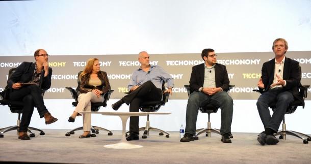 From left, Marcus Wohlsen, Nancy J. Kelley, Floyd Romesberg, Brian Frezza, and Drew Endy